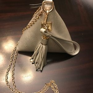 Handbags - Triangle shape silver bag with gold chain strap